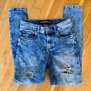 Express Classic Blue Distressed High Rise Skinnies